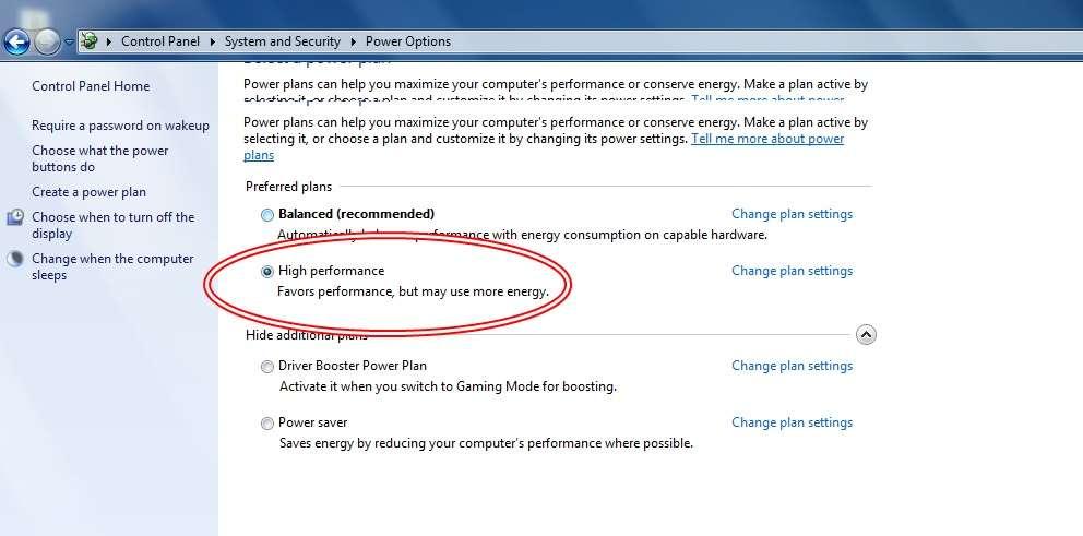 improve pc perfromance power plan