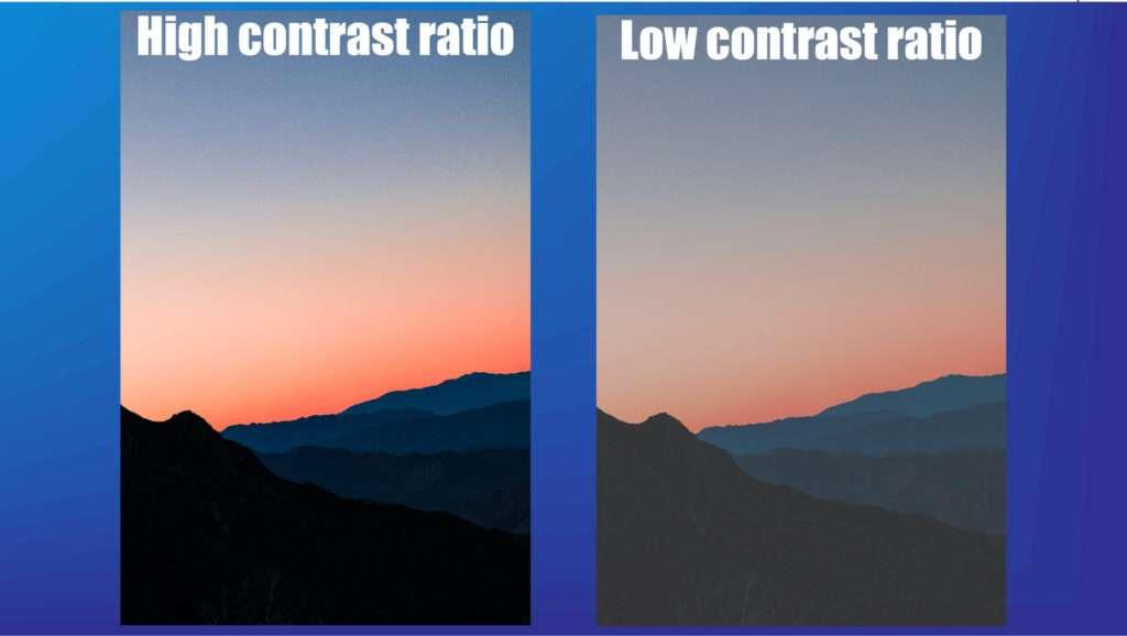contrast ratio high vs low